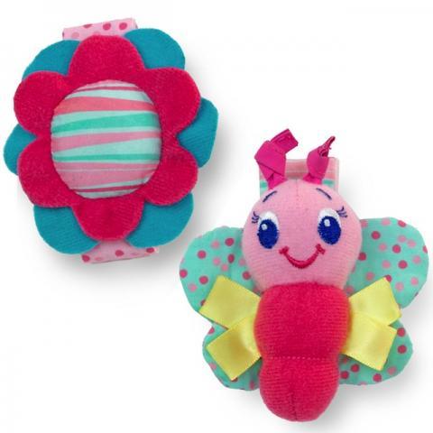 Купить Первые игрушки, погремушки, BRIGHT STARTS игрушки-погремушки на ручку «Стильная пара браслетиков», розовые