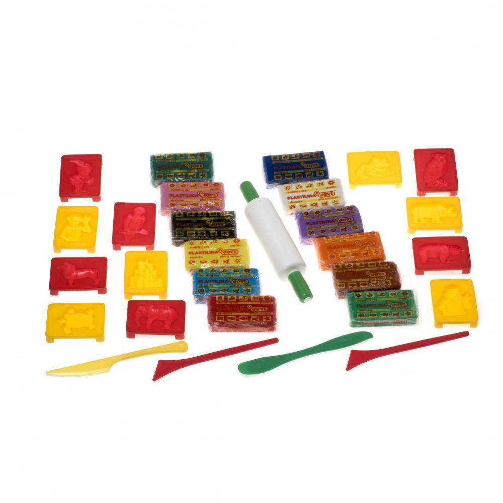 Купить Творчество и младенческая канцелярия, JOVI Набор для лепки: пластилин 12 цв + 12 форм +3 стека + скалка в контейнере