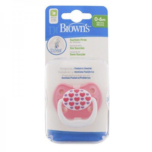 Пустышка PreVent КЛАССИК, 0 - 6 месяцев, с крышкой, для девочек (Dr.BROWNS)
