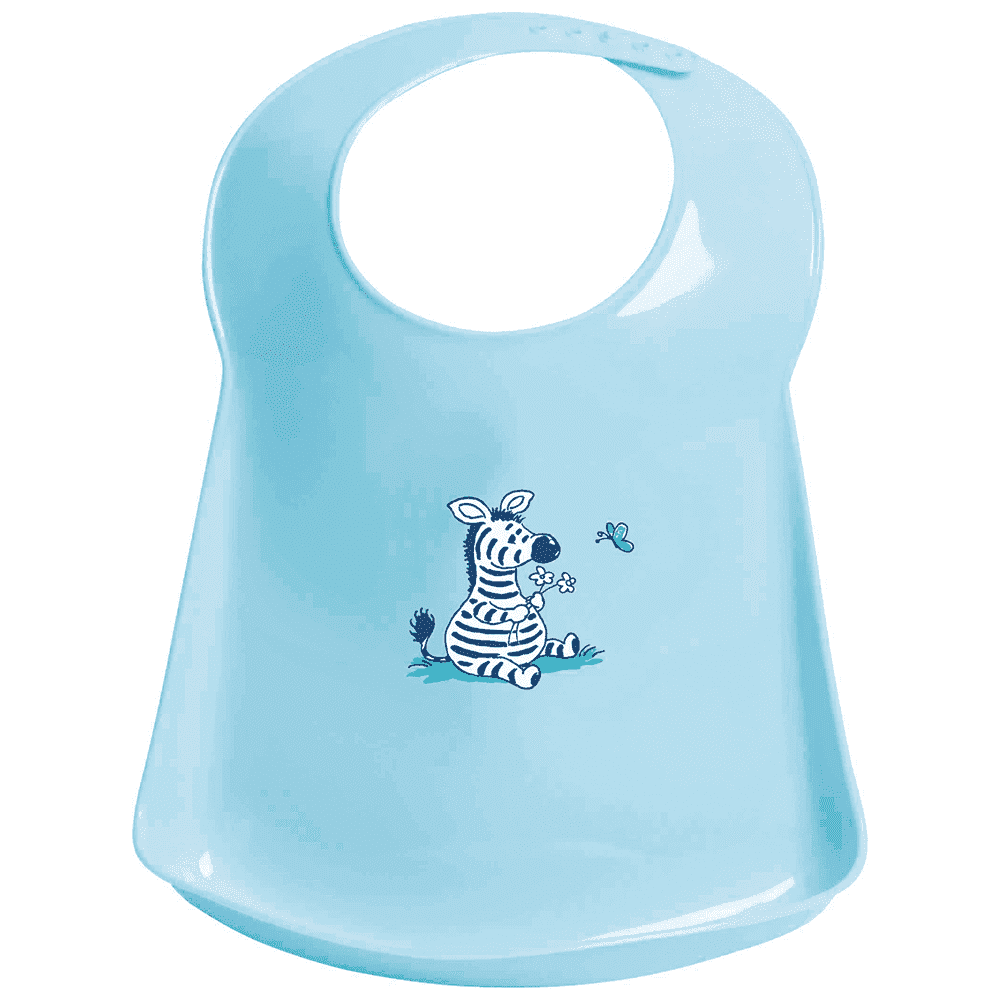 BEBE JOU пластиковый фартук-нагрудник голубой зебра Динки
