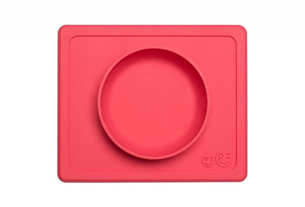 Ezpz тарелка с подставкой mini bowl packaged coral, коралловый