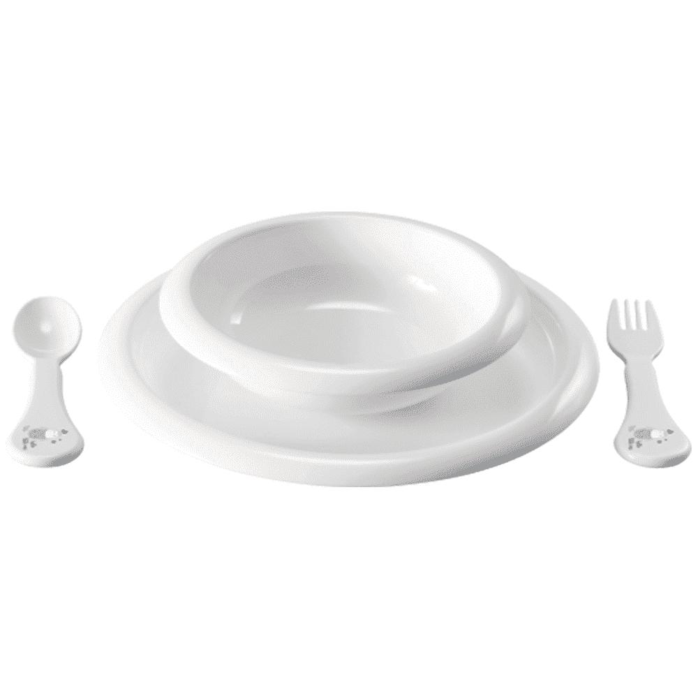 """Купить со скидкой BEBE JOU комплект посуды для кормления - 2 тарелочки, ложка, вилка """"Привет, Малыш!"""""""