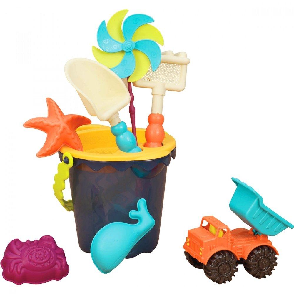 Battat b.summer малое ведерко и игровой набор для песка, 9 деталей (голубой)