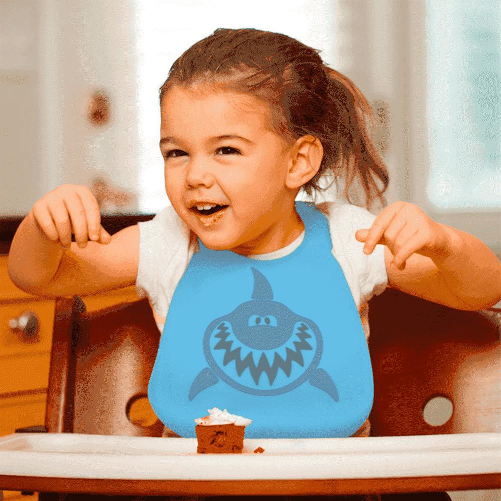 Make My Day Детский нагрудник, голубой с серым Shark