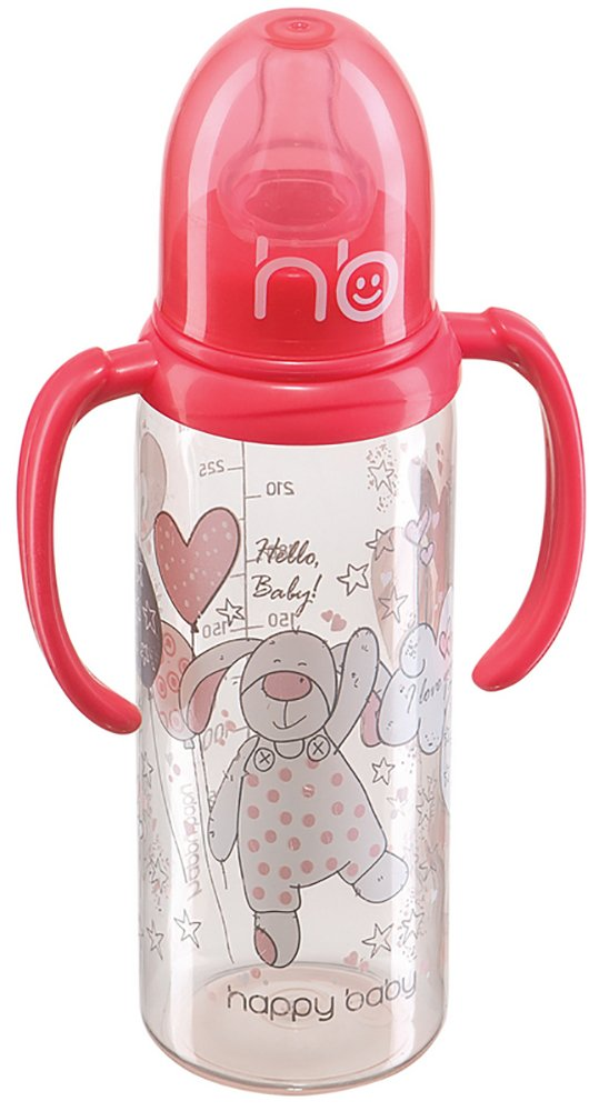 HAPPY BABY New Pink Бутылочка с двумя силиконовыми сосками 250 мл