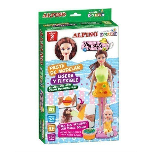 """ALPINO набор пасты для лепки """"Волшебное тесто"""" (Мой стиль), 2 куклы и набор декораций, 42 гр, 3 цвет"""