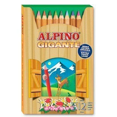 ALPINO цветные утолщённые шестигранные карандаши GIGANTE (Богатырь), 12 цветов