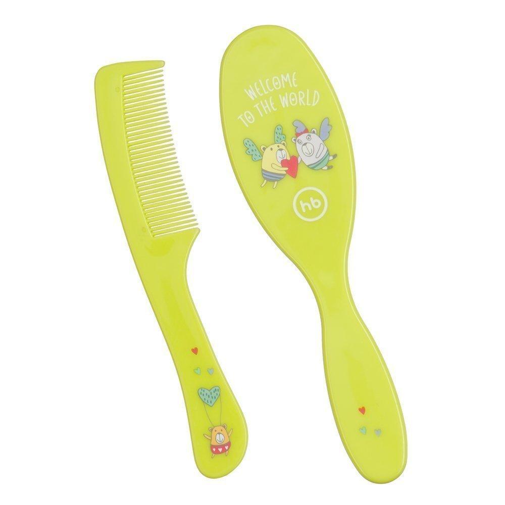 HAPPY BABY Набор детских расчесок для волос  BRUSH COMB SET LIME