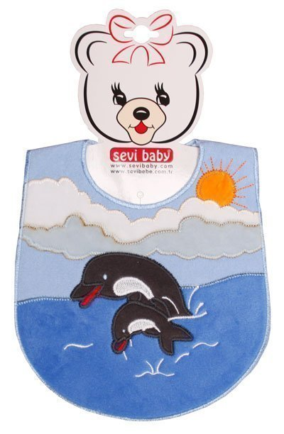SEVI BABY нагрудник на липучке Дельфин, голубой