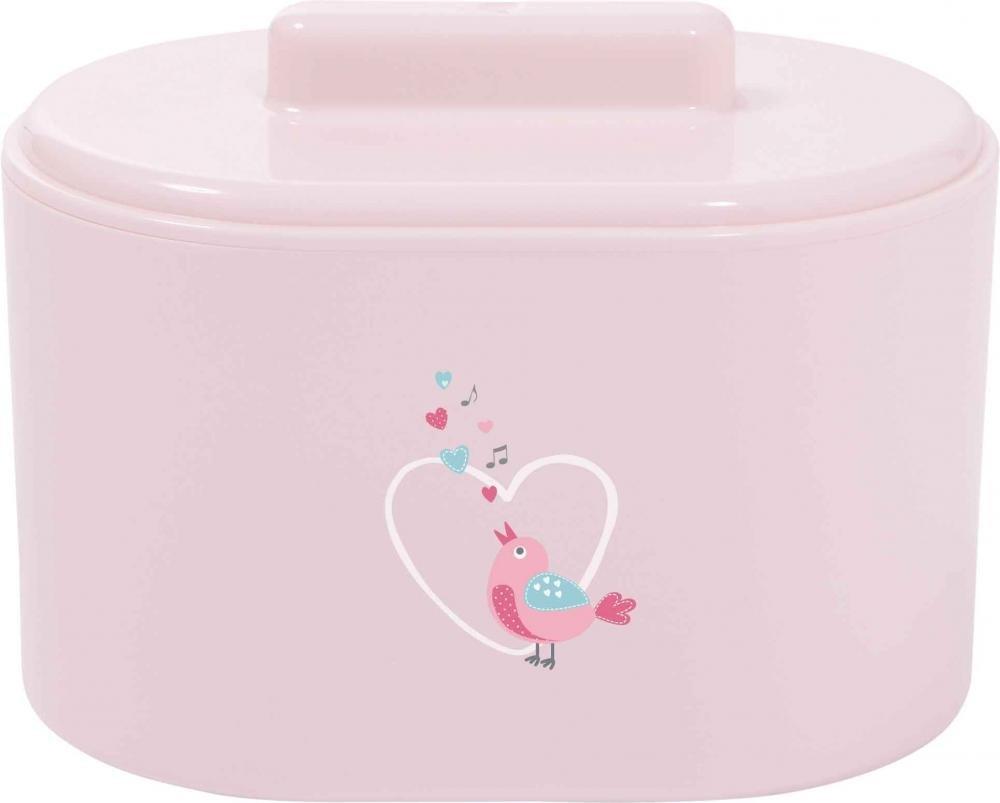 Купить Гигиена, здоровье, BEBE JOU коробочка для гигиенических принадлежностей, BEBE JOU коробочка пластиковая для гигиенических принадлежностей нежно-розовый Птички певчие