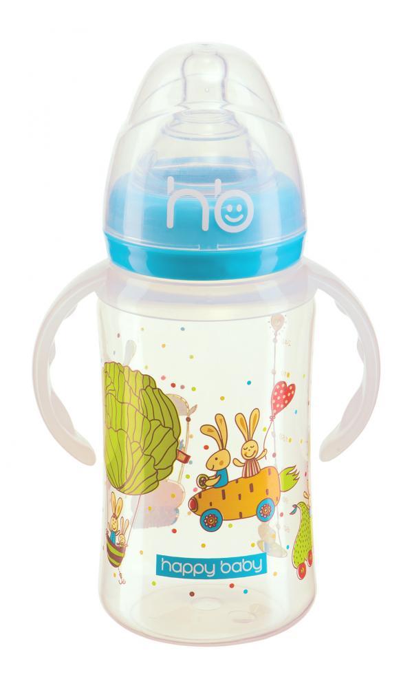 HAPPY BABY New Бутылочка для кормления с ручками 240 мл blue 10010