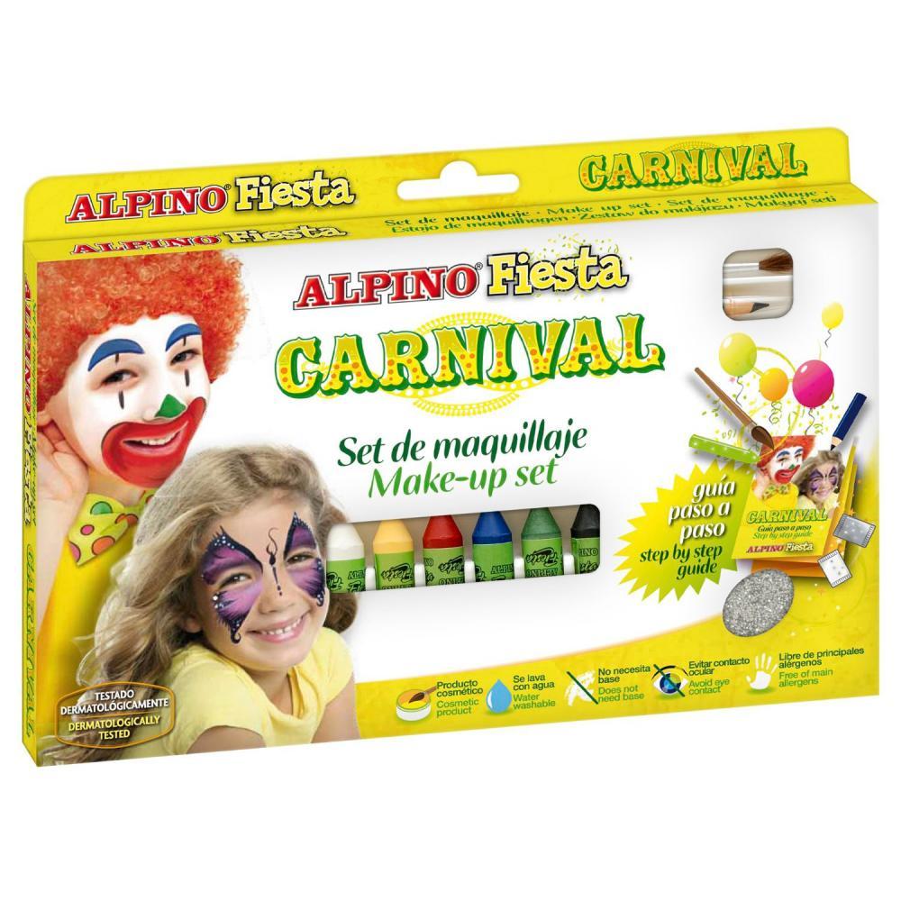 "ALPINO детский аквагрим ""Карнавал"" (макияжные карандаши), 6 x 5 гр, 6 цветов + комплект"