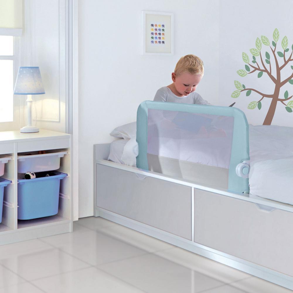 LINDAM бортик защитный для кровати на метал. каркасе с тканью 95 см Голубой