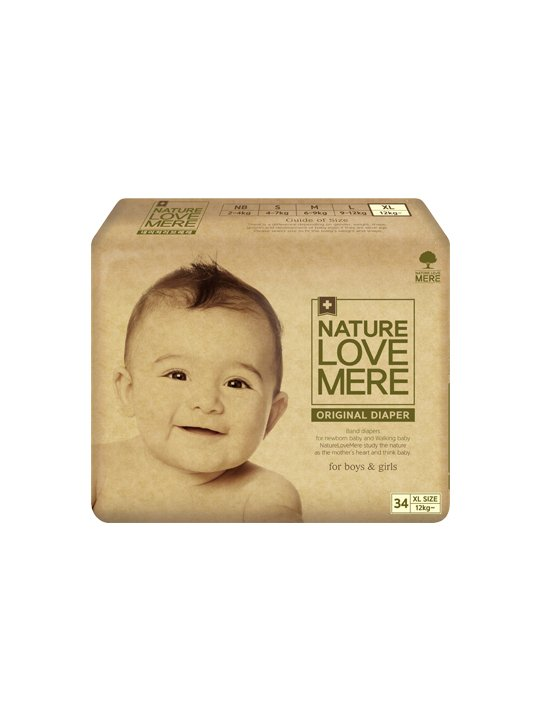 Nature Love Mere ORIGINAL BAsiC DIAPER подгузники XL от 12 кг, 34 шт.