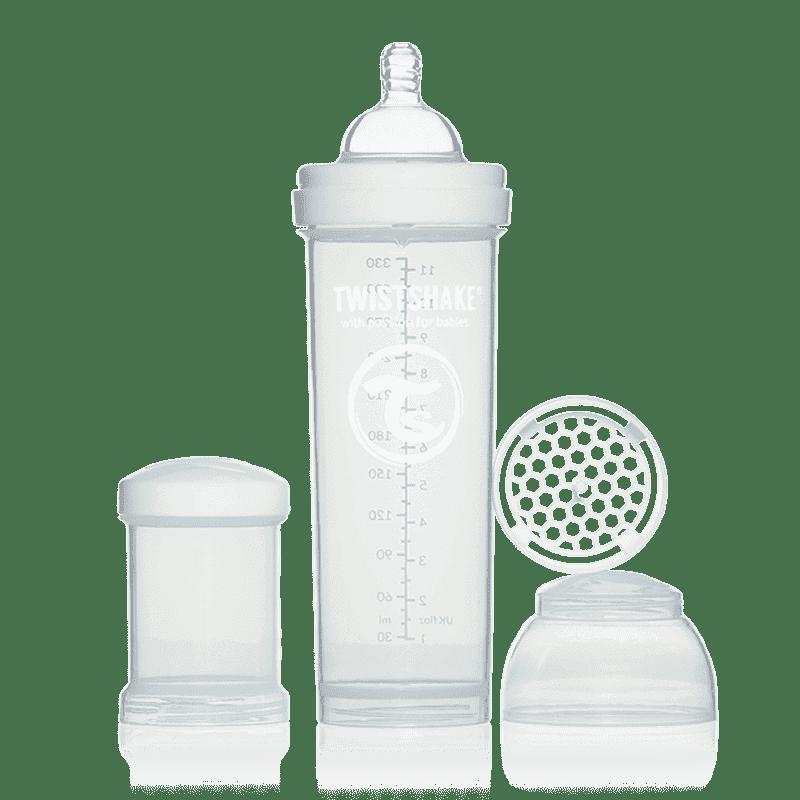TWISTSHAKE бутылочка для кормления 330 мл с контейнером для сухой смеси и соской 4+ белая 78018