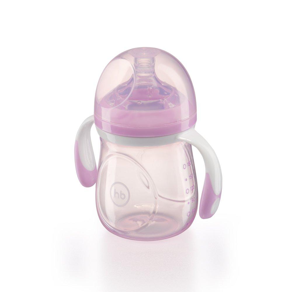 HAPPY BABY Бутылочка для кормления с ручками и антиколиковой силиконовой соской 180 мл violet 10011 VIOLET
