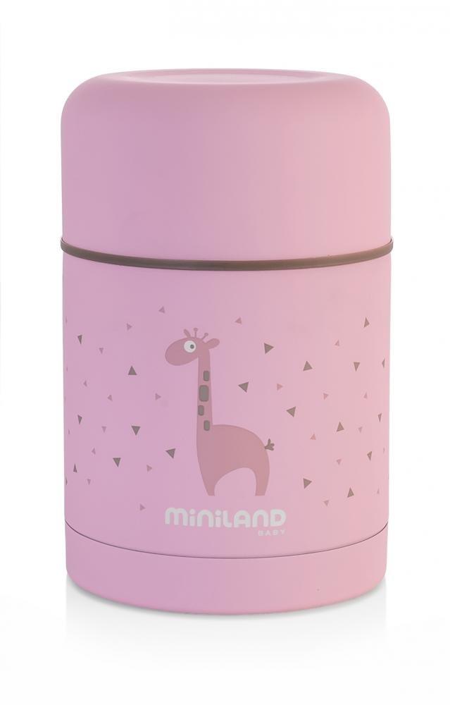 Miniland детский термос для еды silky thermos 600 мл, розовый