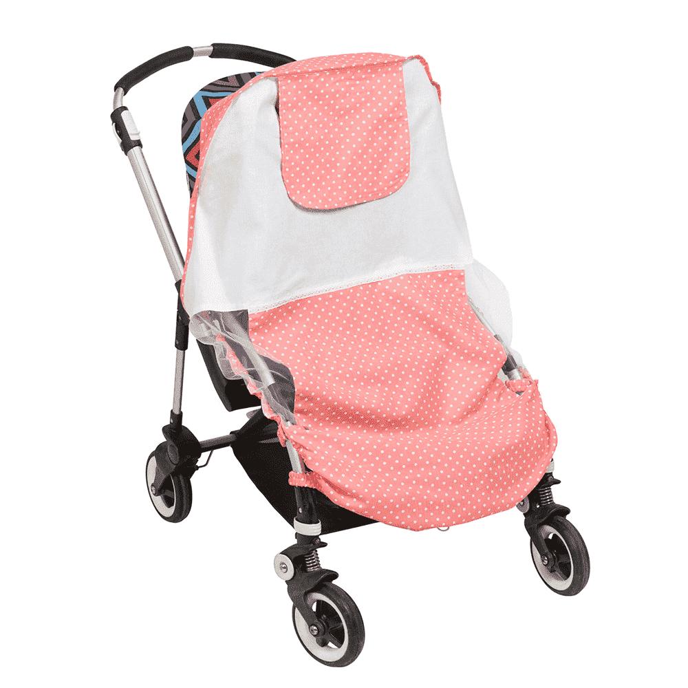 MAMMIE Cолнцезащитный тент для коляски - розовый горошек