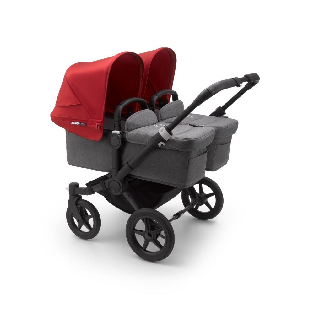 Bugaboo Donkey3 коляска 2 в 1 для двойни Twin Black/Grey Melange/Red