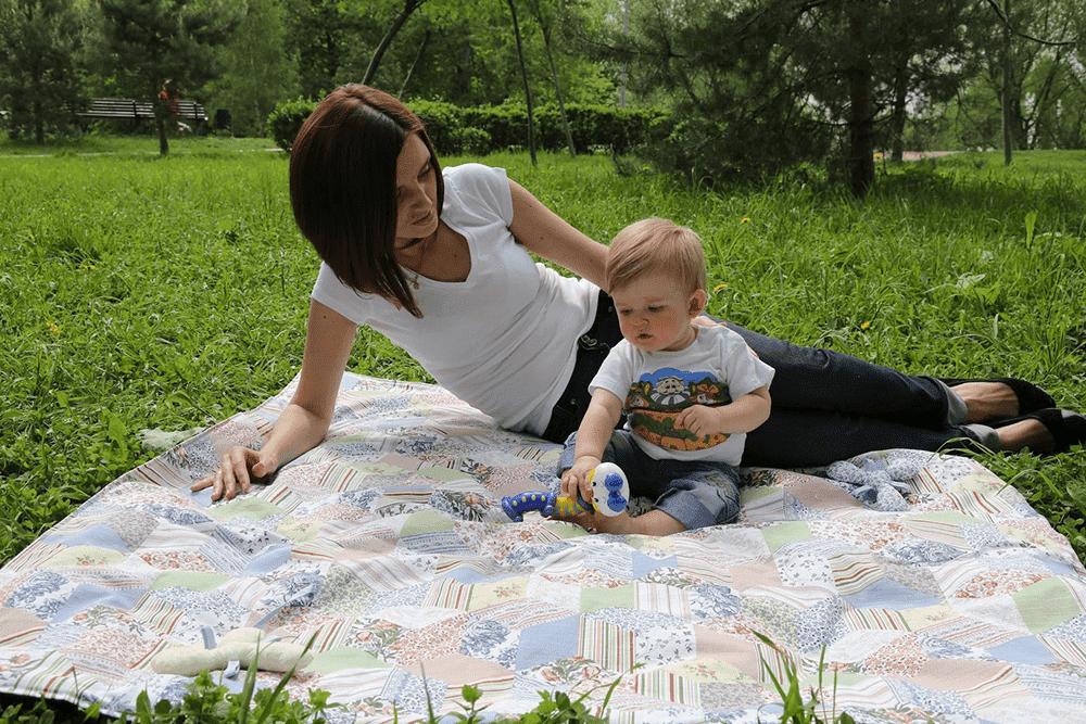 MAMMIE Детское термоодеяло для пикника с сумкой для мамы -печворк