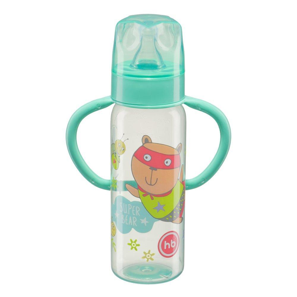 """HAPPY BABY Бутылочка для кормления с ручками и силиконовой соской """"BABY BOTTLE"""" mint 10007"""