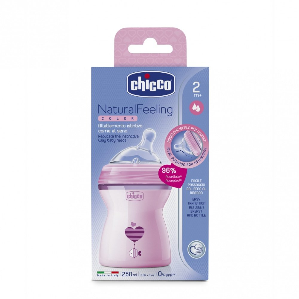 Chicco бутылочка Natural Feeling с флексорами 250 мл цвет розовый