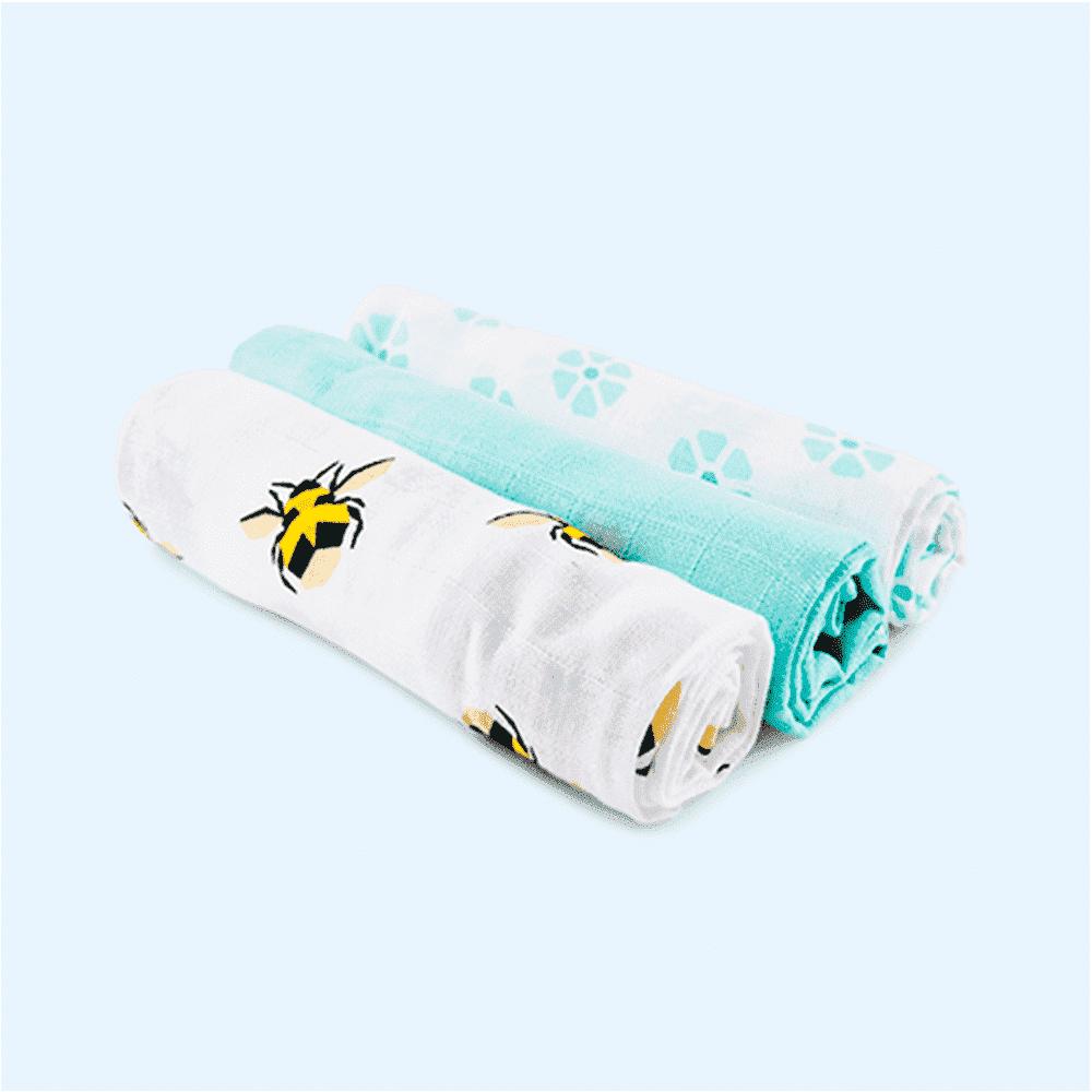 Купить Многоразовые подгузники, BAMBINO MIO хлопковые пеленки муслин 70*70 ПЧЕЛКИ 3шт