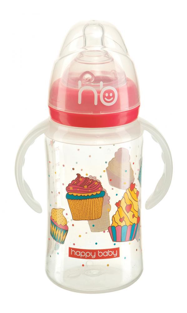 HAPPY BABY New Бутылочка для кормления с ручками 240 мл red