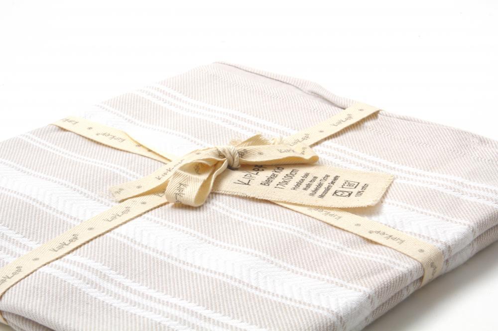 KIPKEP полотенце 170*100, песочный с белыми полосками 644