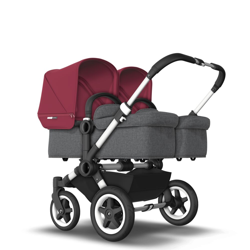 Bugaboo Коляска 2 в 1 для двойни Donkey 2 Twin ALU/GREY MELANGE/RUBY RED