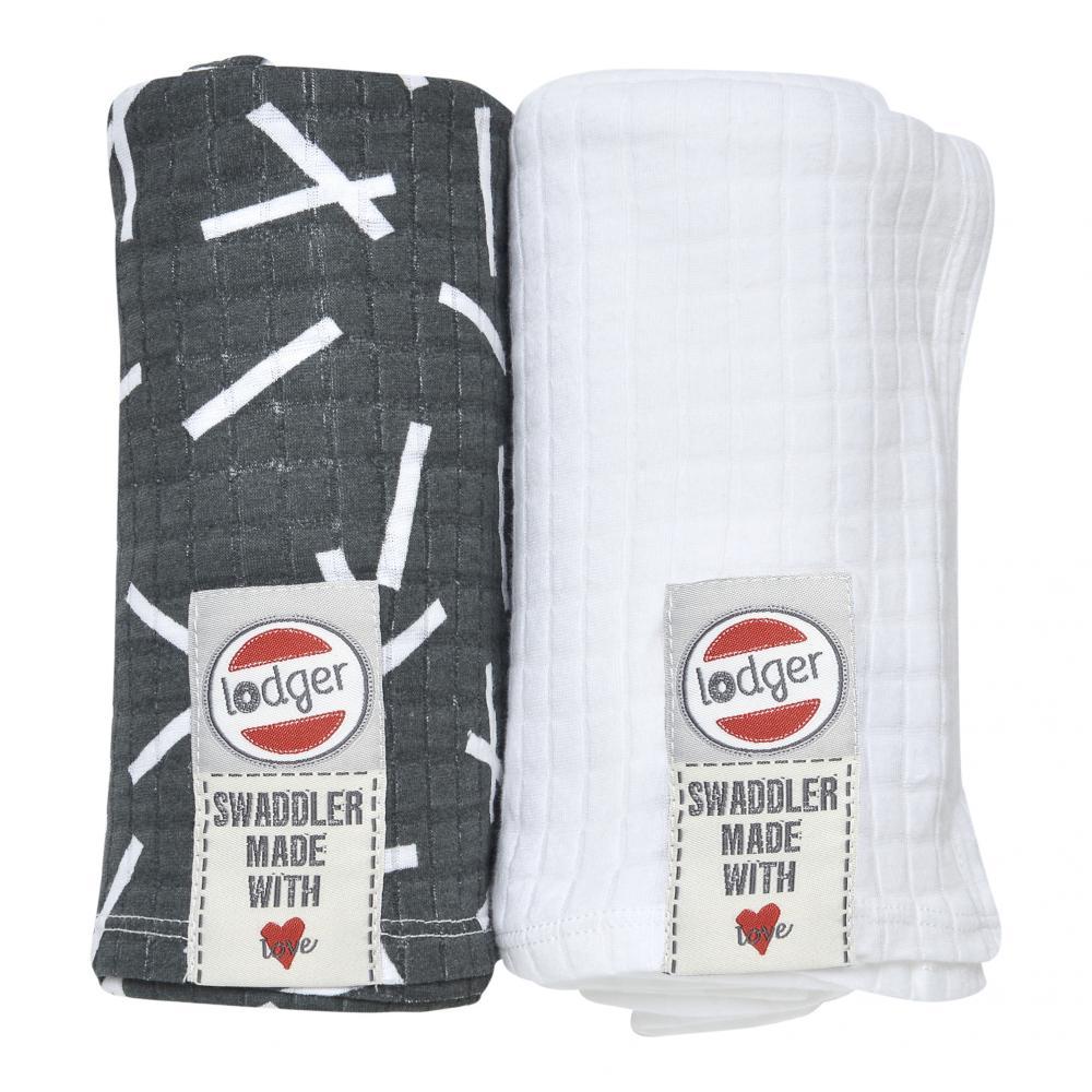 Купить Пеленки, пеленальные конверты, пледы, LODGER пелёнка Scandinavian Carbon/White 2 шт.