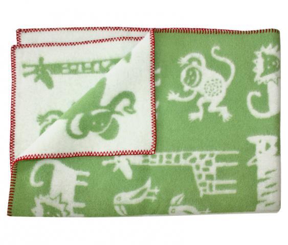KLIPPAN одеяло 90х130 эко-шерсть Джунгли зеленое от olant-shop.ru