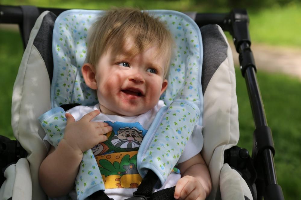 MAMMIE Хлопковый матрасик в коляску - синие цветы Матрасик Mammie