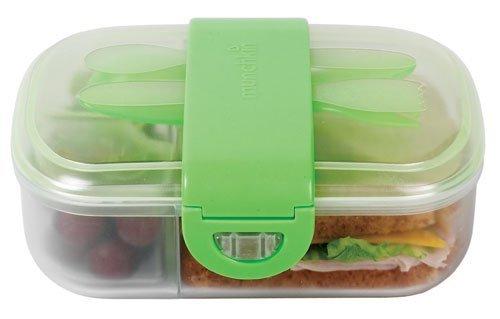 Munchkin контейнер с делениями для хранения питания с крышками, ложкой и  вилкой 9+