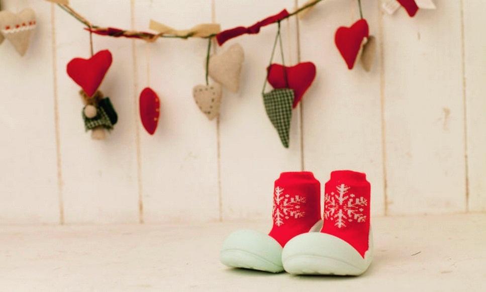 ATTIPAS обувь X'Mas красный со снежинкой, р. S (3-6мес.)