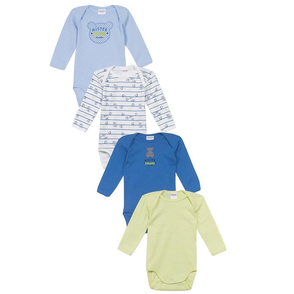 Купить со скидкой Absorba сет 4 боди, длинный рукав, серо-голубой 12м