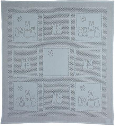 MYB плед Bunny Squares 76х102см голубой (подарочная уп.) 831