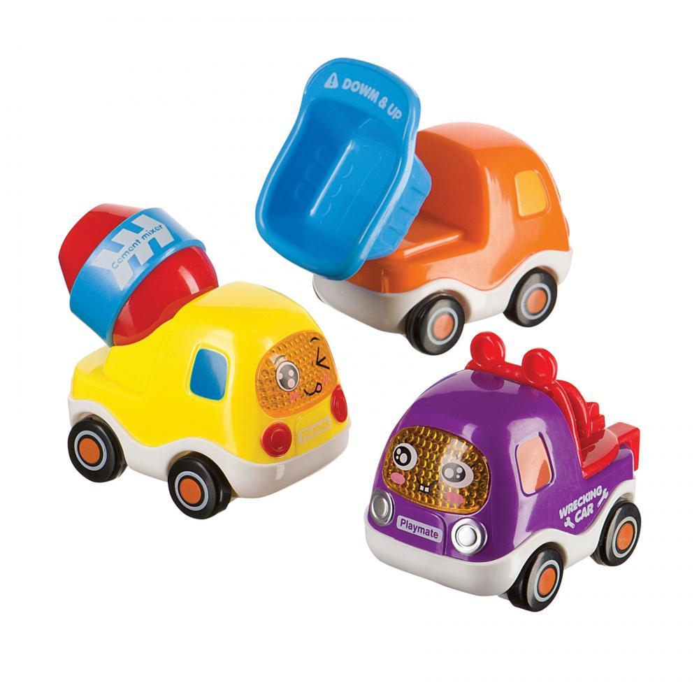 HAPPY BABY Набор веселых грузовичков с инерционным механизмом CARS4FUN