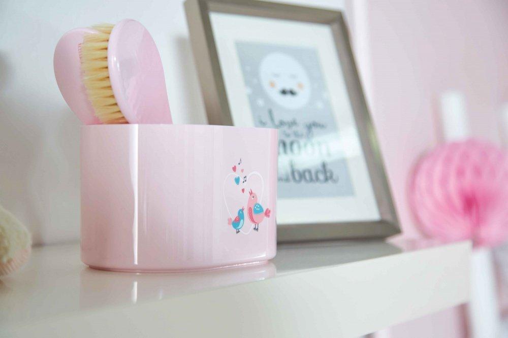 BEBE JOU коробочка пластиковая для гигиенических принадлежностей нежно-розовый Птички певчие BEBE JOU коробочка  для гигиенических принадлежностей