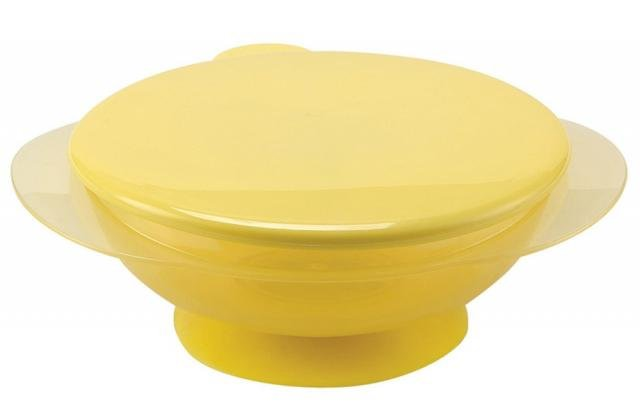 HAPPY BABY Тарелочка детская на присоске с крышкой yellow