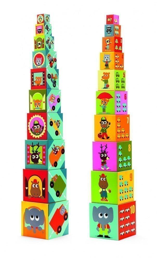 Сортеры, пирамидки, кубики, конструкторы DJECO djeco djeco кубики пирамида забавные кубики  10 элементов