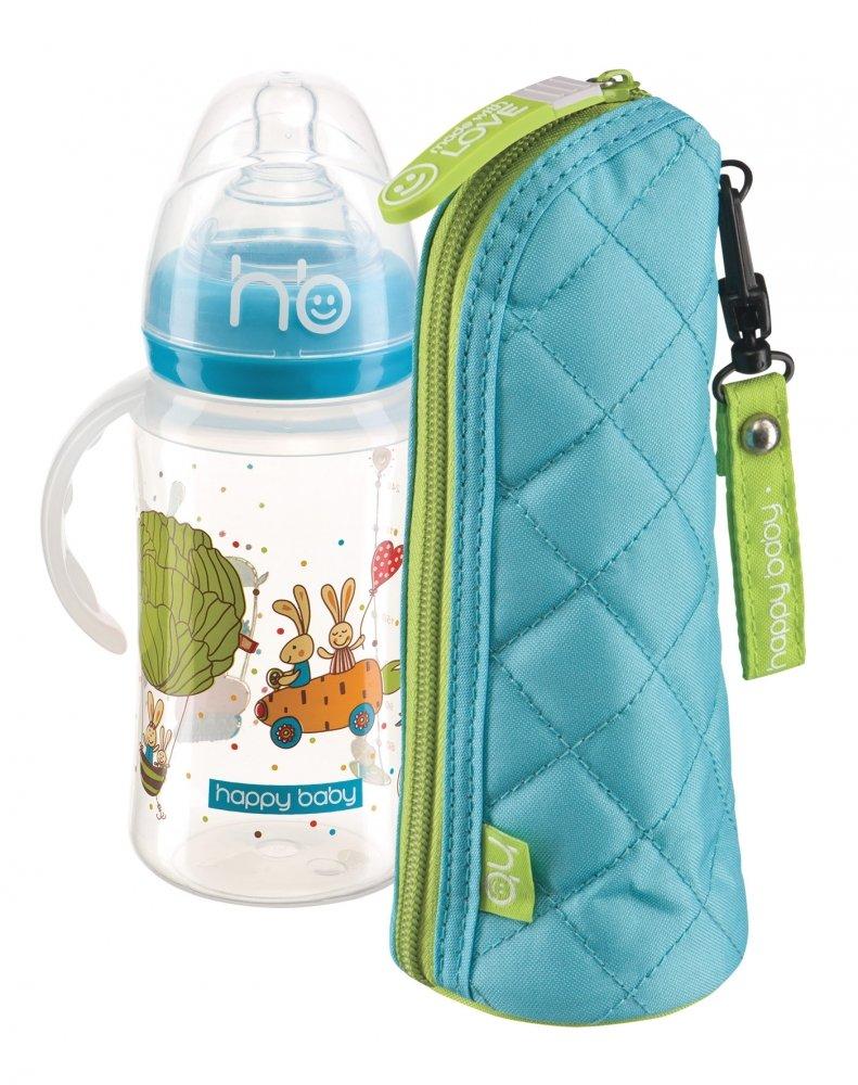 HAPPY BABY New Бутылочка для кормления с ручками 240 мл blue