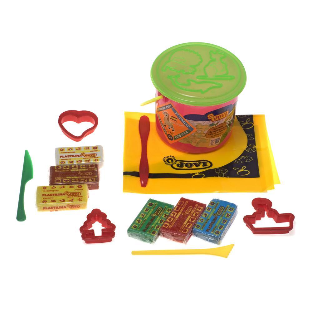 Купить Творчество и младенческая канцелярия, JOVI Набор для лепки: пластилин, формочки, стеки, клеенка в ведре