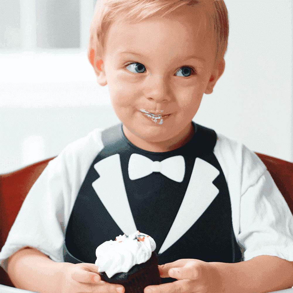 Make My Day Детский нагрудник черно-белый Tuxedo