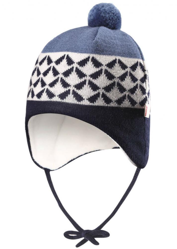 Купить Reima шапка шерстяная unonen синяя р.38/40
