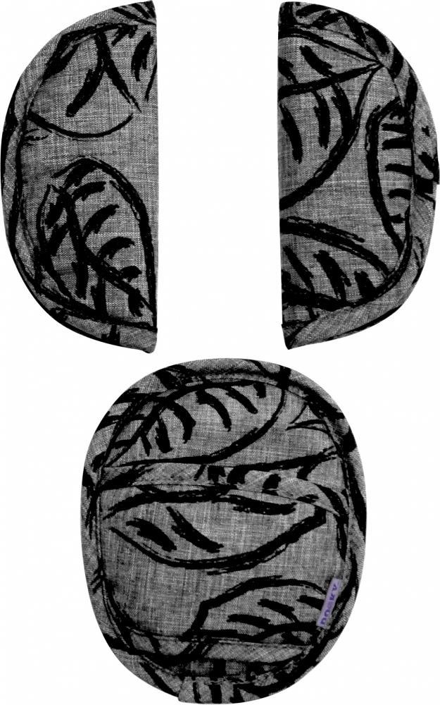 XPLORYS Комплект мягких накладок на ремни безопасности в автокресло Grey Leaves