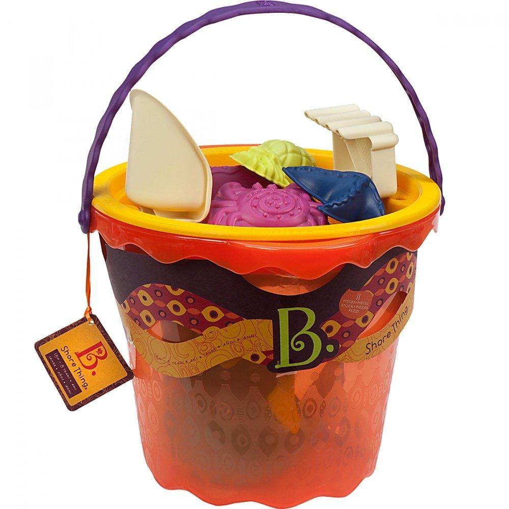 Battat b.summer ведерко большое и игровой набор для песка 11 деталей (оранжевый)
