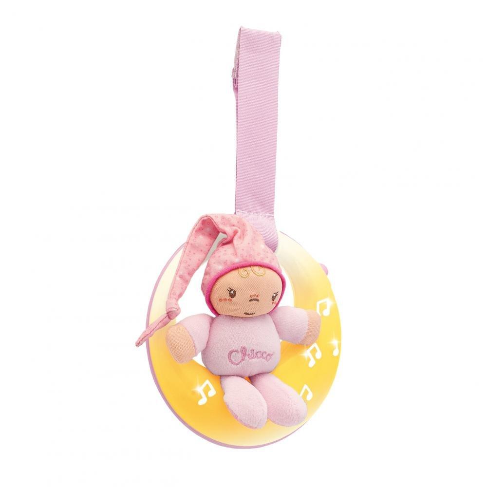 Купить со скидкой Chicco подвеска для кроватки музыкальная спокойной ночи, луна розовая 0м