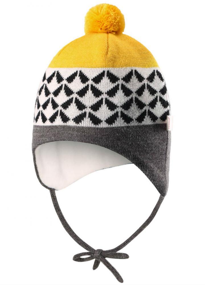 Купить Reima шапка шерстяная unonen серая с желтым р.38/40