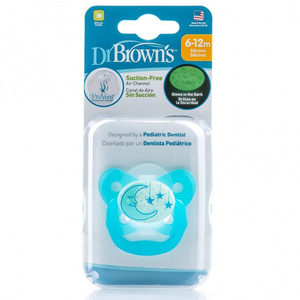 Пустышка PreVent НОЧНАЯ,  6 - 12 месяцев, голубая (Dr.BROWNS)